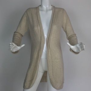 PLY Cashmere Cardigan Open Beige Sweater  Sz PM